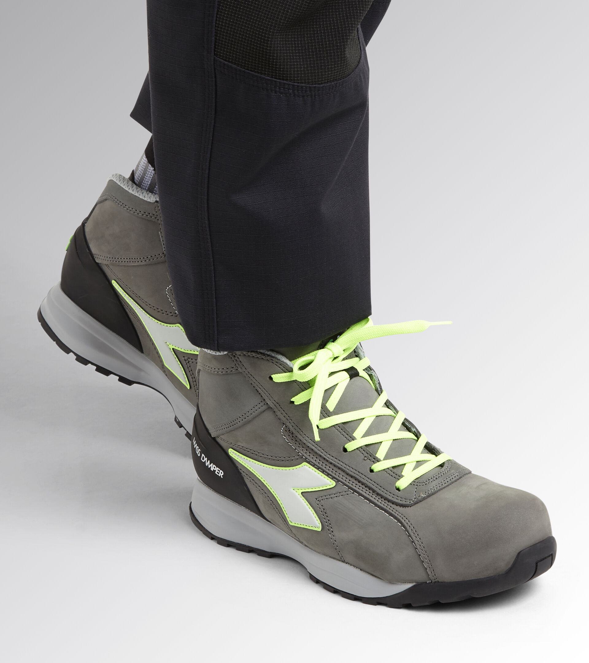 Footwear Utility UNISEX GLOVE MDS MID S3 HRO SRC COAL/GREEN FLUO Utility