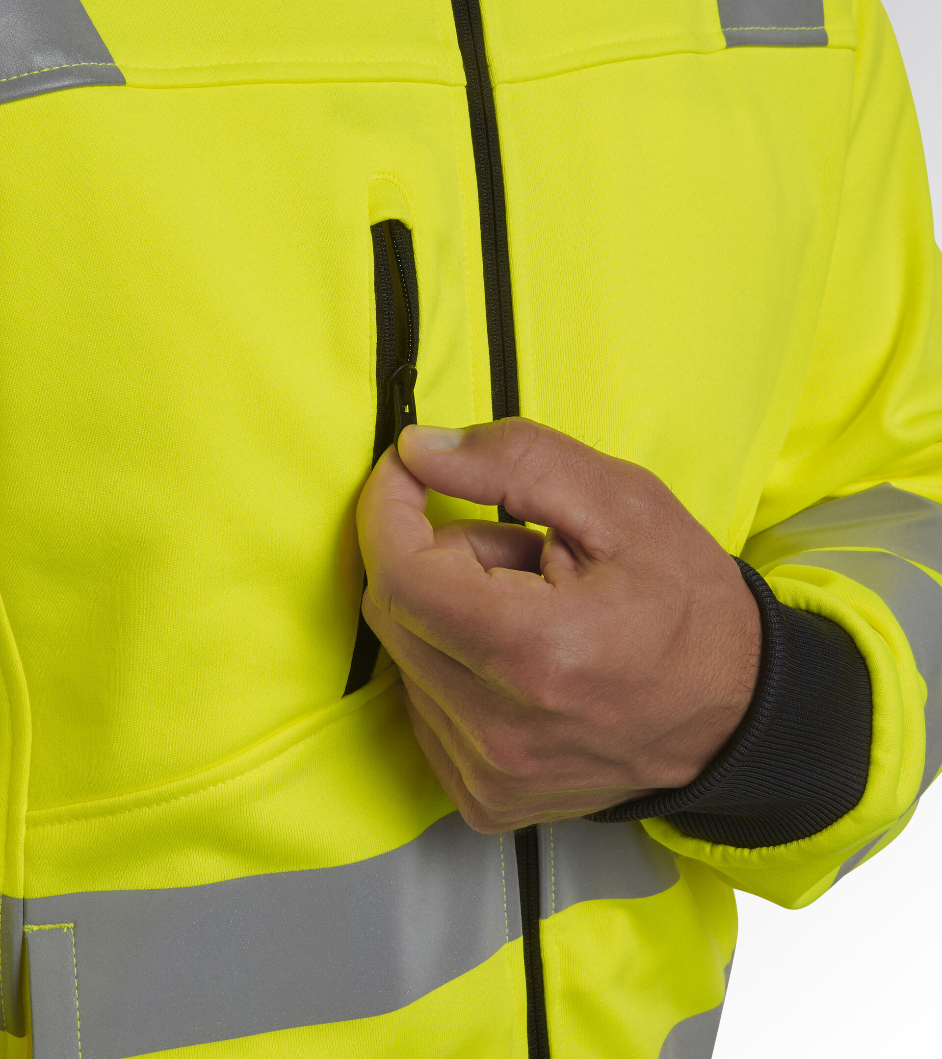 Apparel Utility UOMO HOODIE FZ HV 20471:2013 2 FLUORESCENT YELLOW ISO20471 Utility